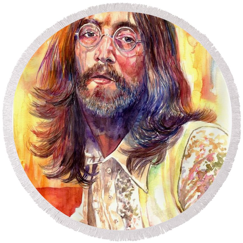 John Lennon Round Beach Towel featuring the painting John Lennon watercolor by Suzann Sines