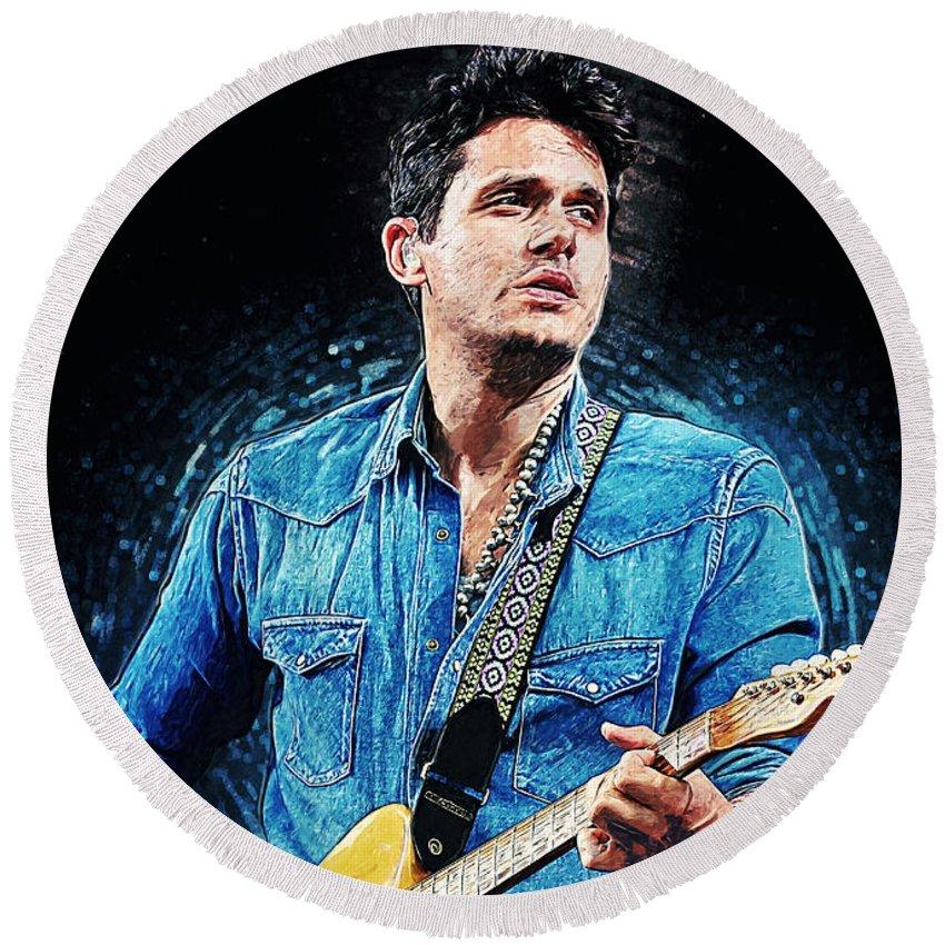 John Mayer Round Beach Towel featuring the digital art John Mayer by Zapista OU