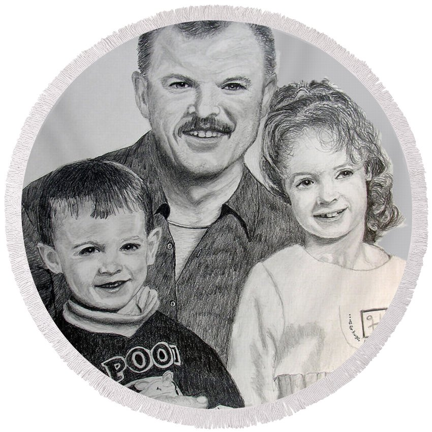 Portrait Round Beach Towel featuring the drawing John Megan And Joey by Stan Hamilton