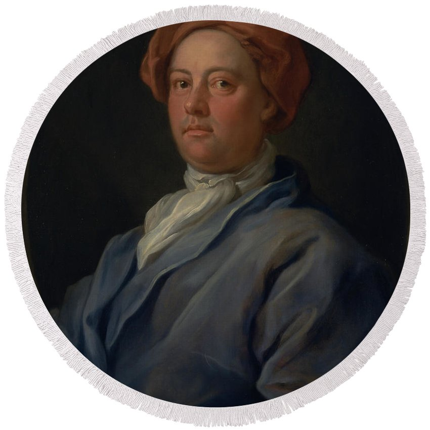 William Hogarth Round Beach Towel featuring the painting John Palmer, Barrister Of The Inner Temple by William Hogarth
