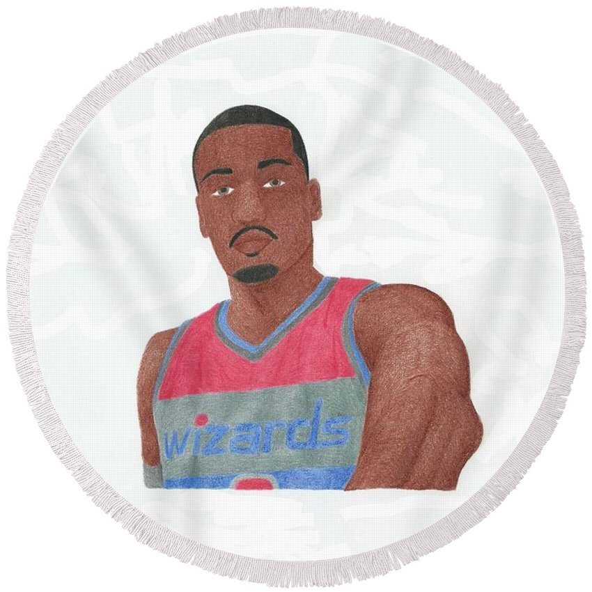 Basketball Round Beach Towel featuring the drawing John Wall by Toni Jaso