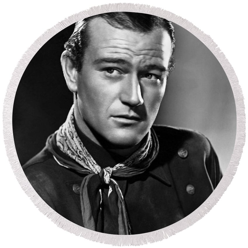 John Wayne Most Popular Round Beach Towel featuring the photograph John Wayne Most Popular by Pd
