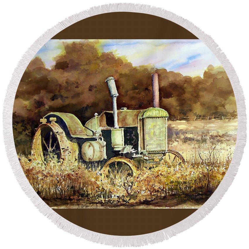 Tractor Round Beach Towel featuring the painting Johnny Popper by Sam Sidders