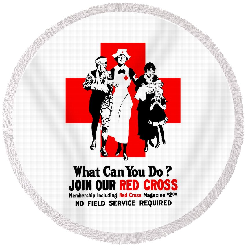 Red Cross Round Beach Towel featuring the painting Join Our Red Cross by War Is Hell Store