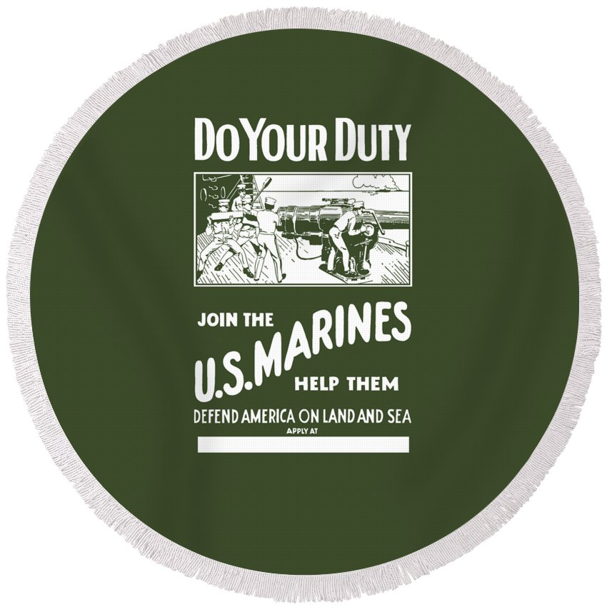 Marine Round Beach Towel featuring the painting Join The Us Marines by War Is Hell Store