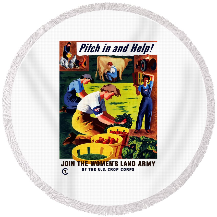 World War Ii Round Beach Towel featuring the painting Join The Women's Land Army by War Is Hell Store