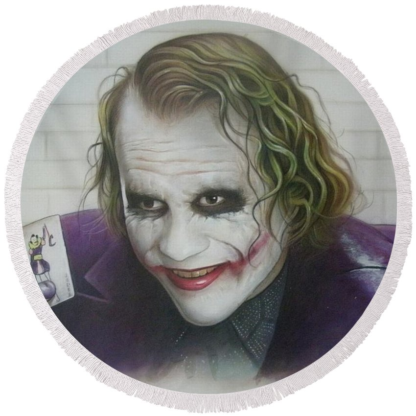 Batman Round Beach Towel featuring the painting Joker by David Easterly