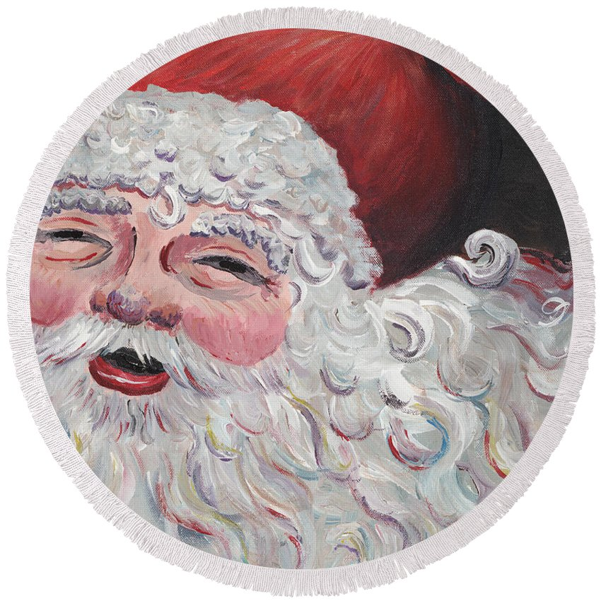 Santa Round Beach Towel featuring the painting Jolly Santa by Nadine Rippelmeyer