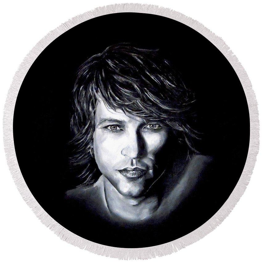 Jon Bon Jovi Round Beach Towel featuring the painting Jon Bon Jovi - It's My Life by Francesca Agostini