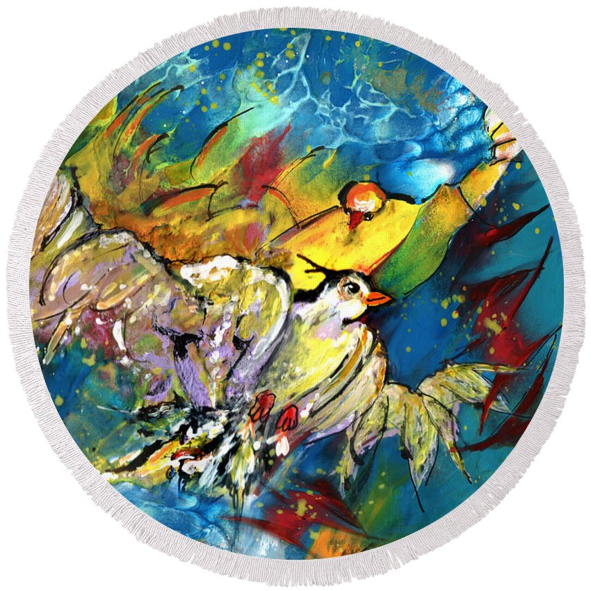 Bird Round Beach Towel featuring the painting Jonathan Livingstone Seagull by Miki De Goodaboom