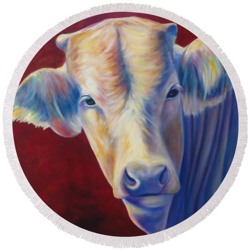 Bull Round Beach Towel featuring the painting Jorge by Shannon Grissom