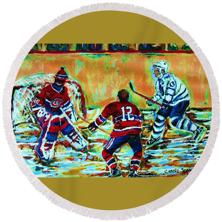 Hockey Canvas Prints Round Beach Towel featuring the painting Jose Theodore The Goalkeeper by Carole Spandau