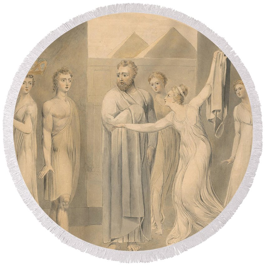 William Blake Round Beach Towel featuring the painting Joseph And Potiphar's Wife by William Blake