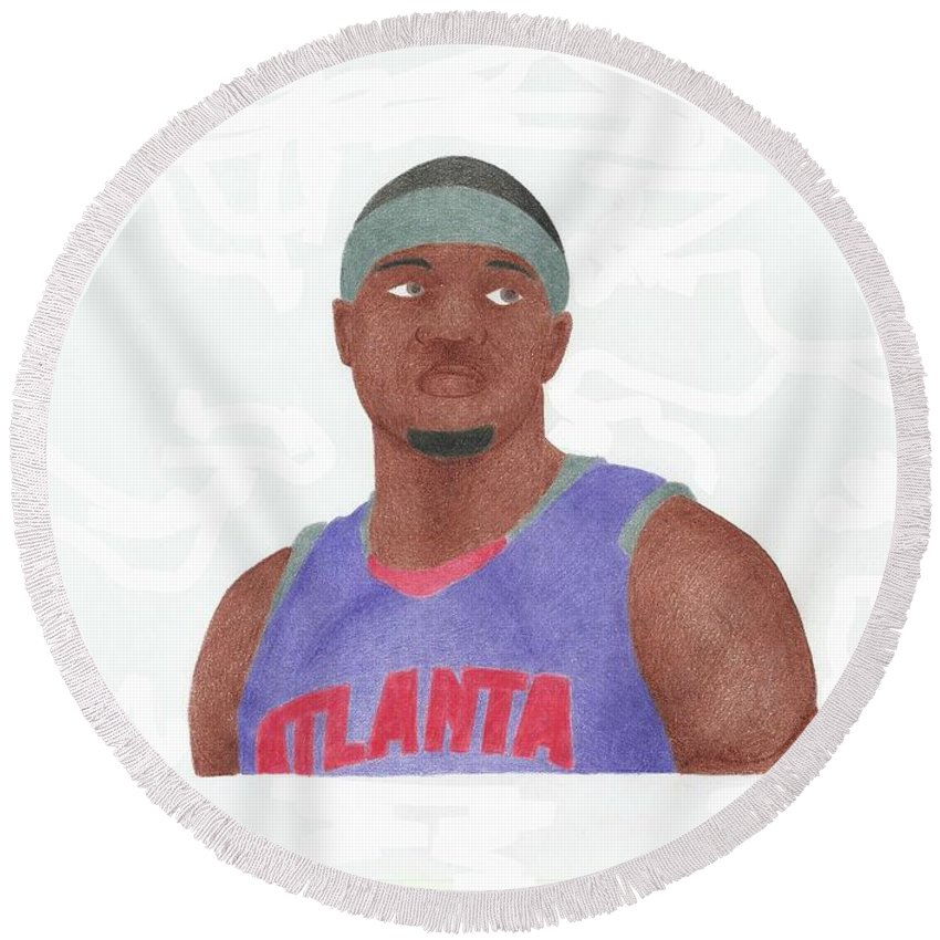 Basketball Round Beach Towel featuring the drawing Josh Smith by Toni Jaso