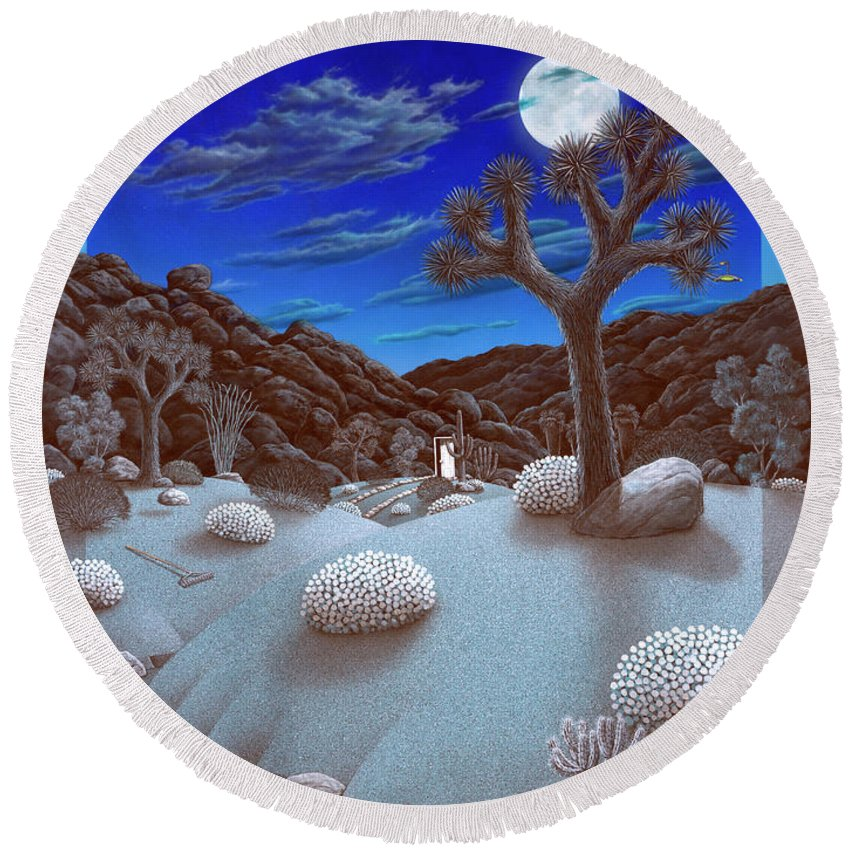 Landscape Round Beach Towel featuring the painting Joshua Tree At Night by Snake Jagger