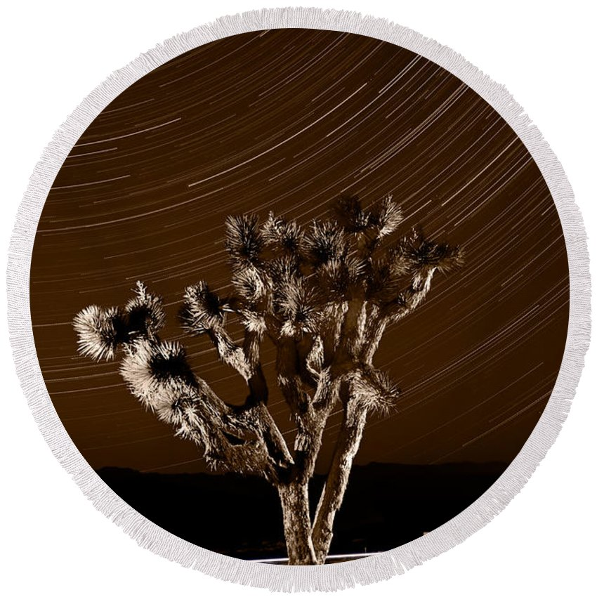 California Round Beach Towel featuring the photograph Joshua Tree Night Lights Death Valley Bw by Steve Gadomski