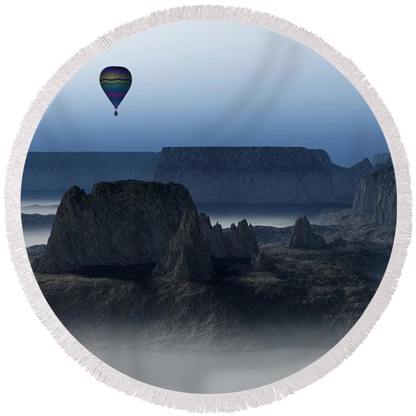 Balloon Flight Round Beach Towel featuring the digital art Journey Into The Wastelands by Richard Rizzo