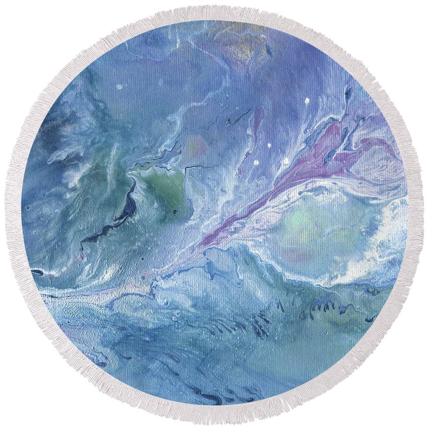 Acrylic Round Beach Towel featuring the painting Journey by Joanne Grant