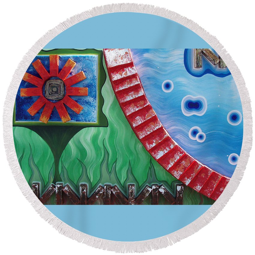 Journey Of Life Round Beach Towel featuring the painting Journey Of Life by Catt Kyriacou