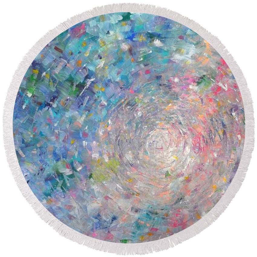 Large Round Beach Towel featuring the painting Journey by Sara Gardner