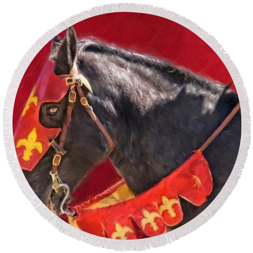 Alicegipsonphotographs Round Beach Towel featuring the photograph Jouster Red by Alice Gipson