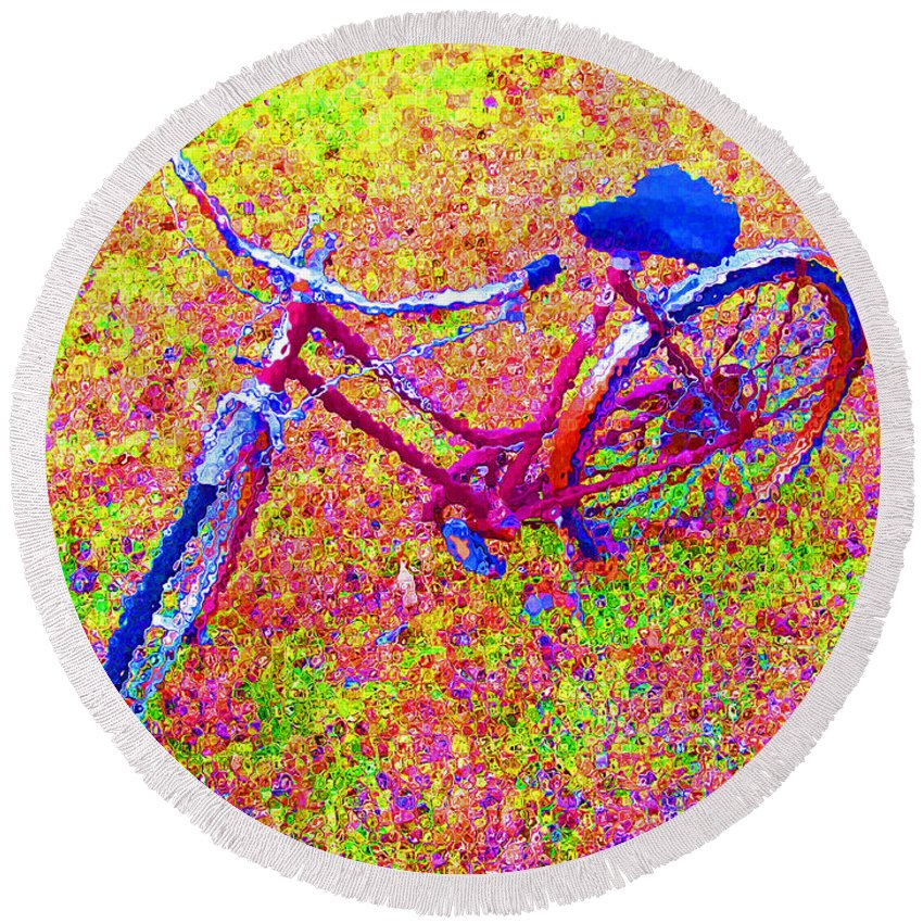 Bike Round Beach Towel featuring the photograph Joy, The Bike Ride by Albert Stewart