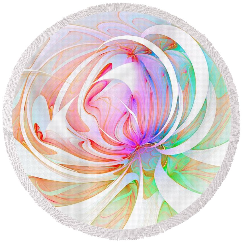 Digital Art Round Beach Towel featuring the digital art Joy by Amanda Moore