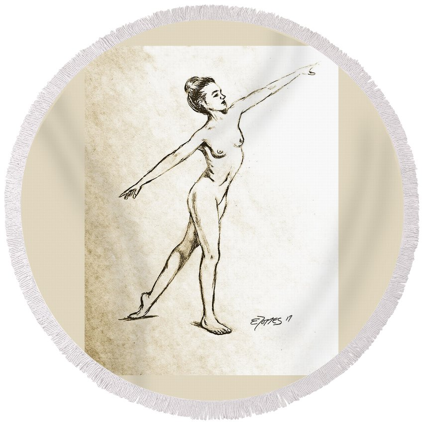Dancing Round Beach Towel featuring the drawing Joy by Edgar Torres
