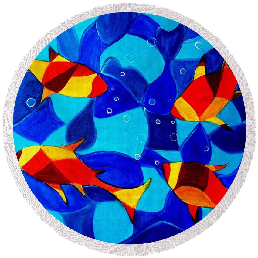 Abstract.acrylic.fish.bubbles.art.painting.modern.contemporary.popblue Red Bubbles Yellow Landscape Round Beach Towel featuring the painting Joy Fish Abstract by Manjiri Kanvinde