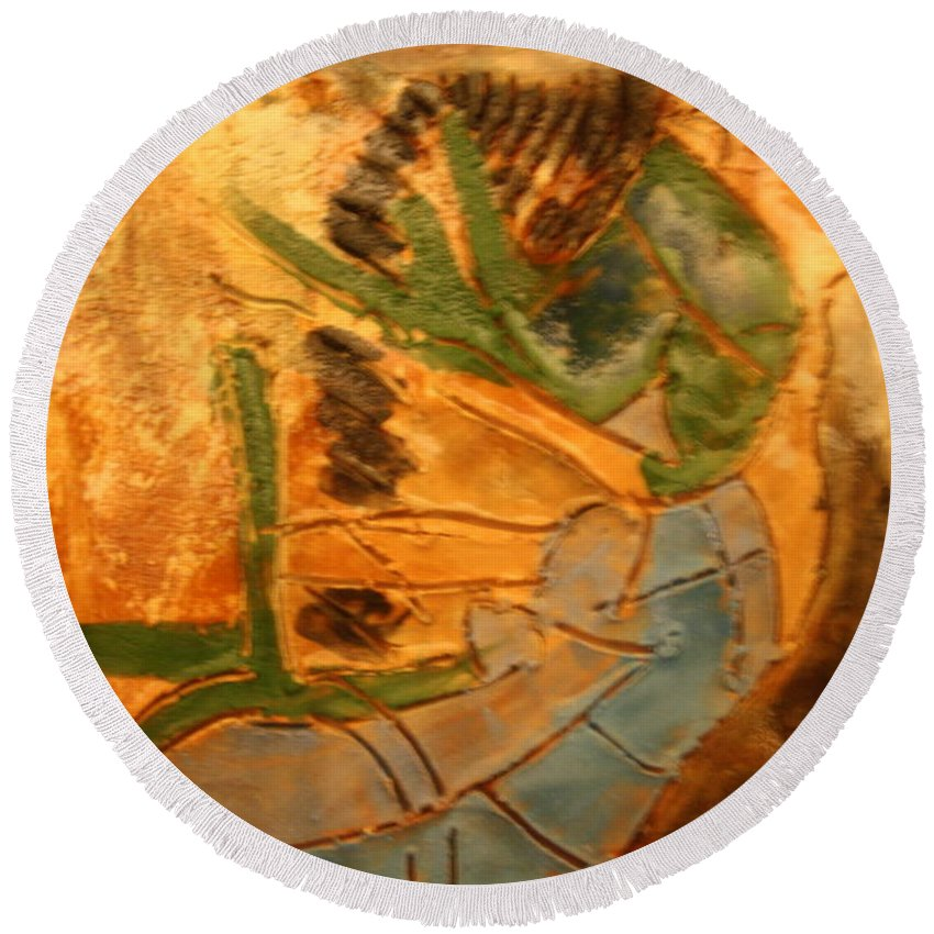 Jesus Round Beach Towel featuring the ceramic art Joy Flowing - Tile by Gloria Ssali