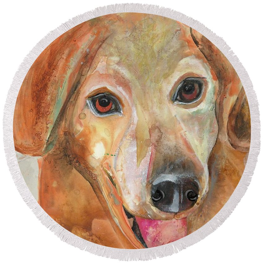 Dog Round Beach Towel featuring the painting Joy by Kasha Ritter