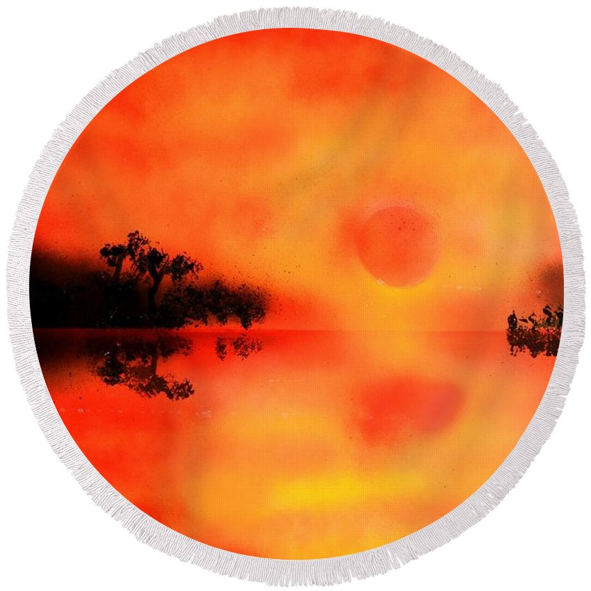 Fantasy Round Beach Towel featuring the painting Joy Of The Sun by Nandor Molnar