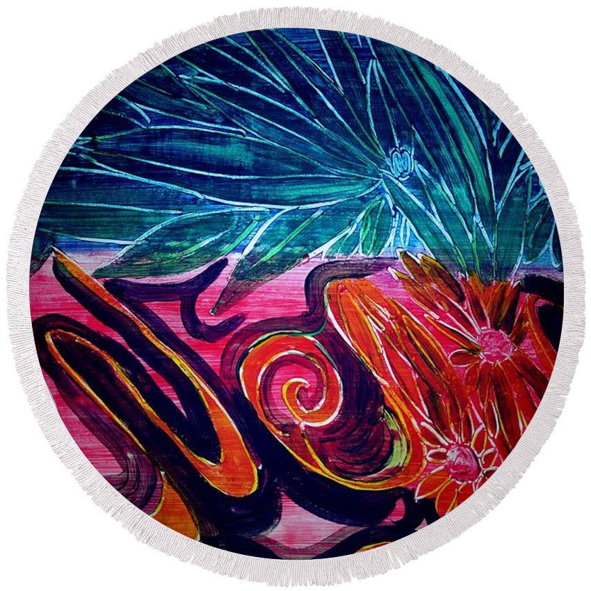 Flowers Round Beach Towel featuring the painting Joy by Valerie Dauce