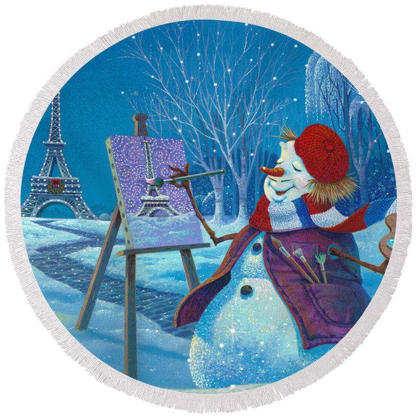 Michael Humphries Round Beach Towel featuring the painting Joyeux Noel by Michael Humphries