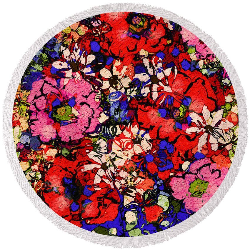 Floral Abstract Round Beach Towel featuring the painting Joyful Flowers by Natalie Holland