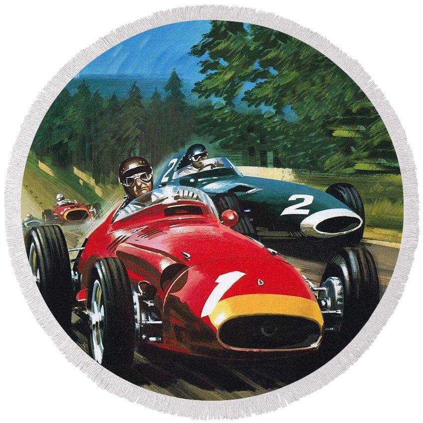 Juan Manuel Fangio; Car Racing; Maserati; Grand Prix Racing; Speed; Driving; Helmet Round Beach Towel featuring the painting Juan Manuel Fangio by Wilf Hardy