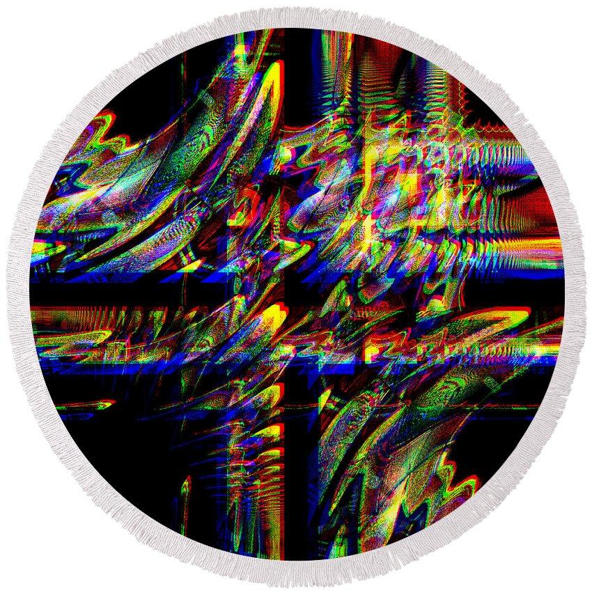 Abstract Round Beach Towel featuring the digital art Jude by Blind Ape Art