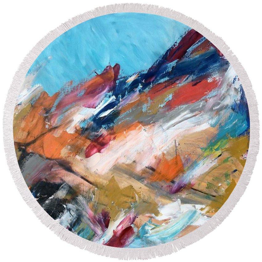 Judean Hill Abstract Round Beach Towel featuring the painting Judean Hill Abstract by Esther Newman-Cohen