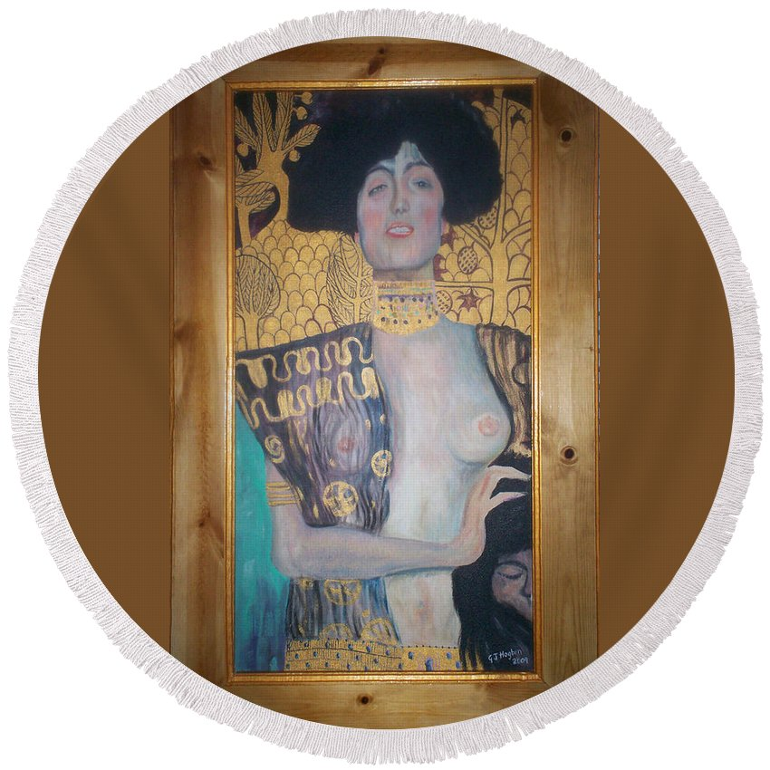 Judith And The Head Of Holofernes Round Beach Towel featuring the painting Judith And The Head Of Holofernes by Gary Hogben