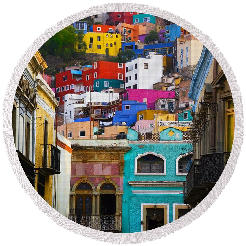 Architecture Round Beach Towel featuring the photograph Juegos In Guanajuato by Skip Hunt