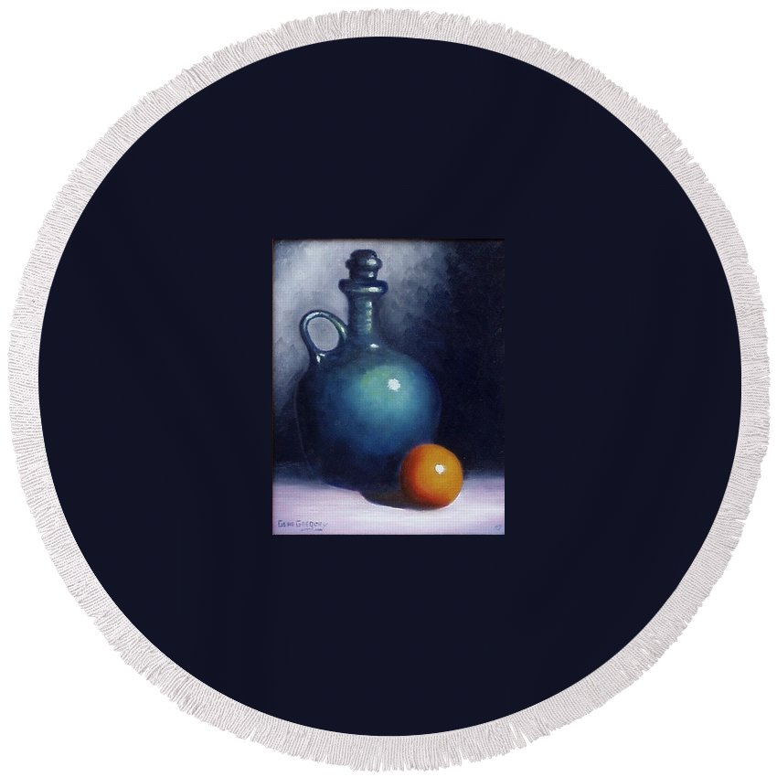 Still Life. Round Beach Towel featuring the painting Jug And Orange. by Gene Gregory