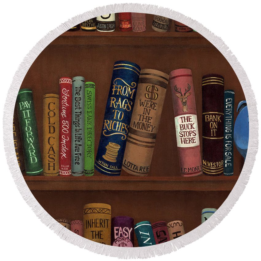Whimsical Round Beach Towel featuring the painting Jugglin' The Books by D Hummel-Marconi