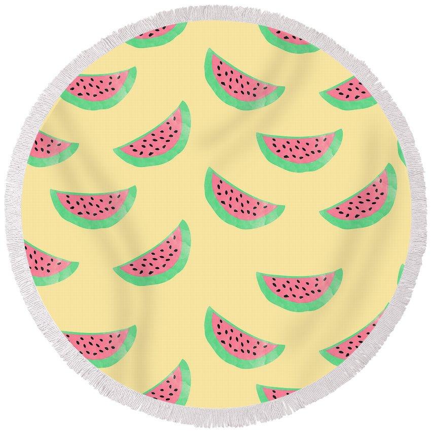 Juicy Watermelon Round Beach Towel