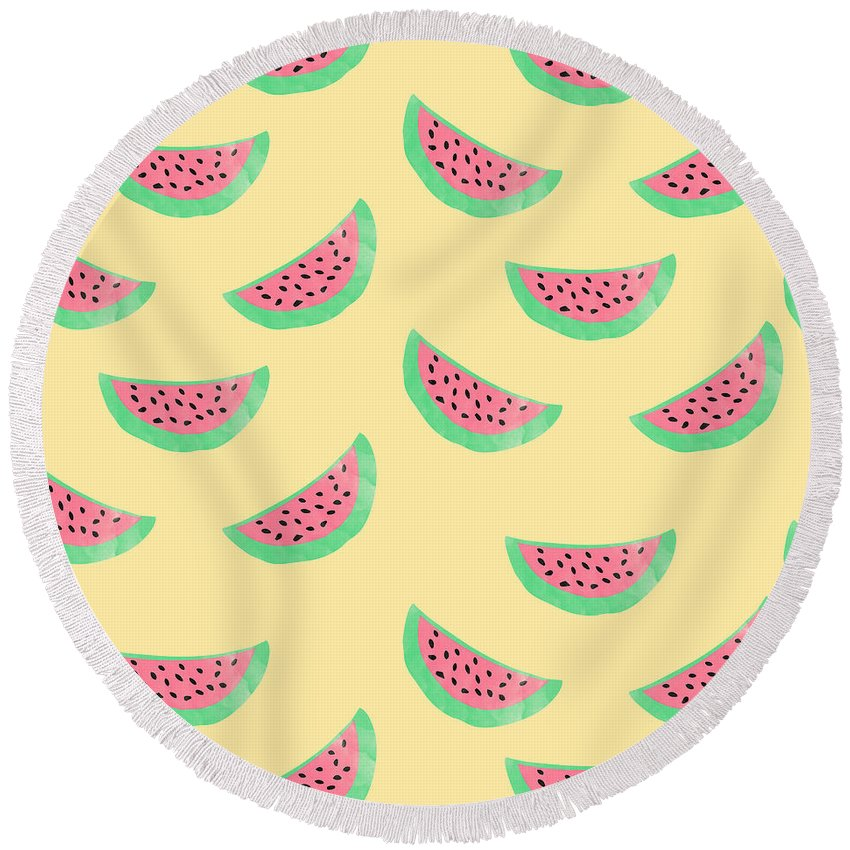 Juicy Watermelon Round Beach Towel featuring the digital art Juicy Watermelon by Allyson Johnson