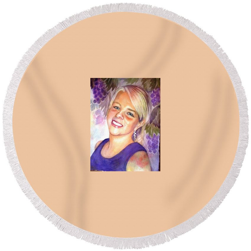 Grapes Round Beach Towel featuring the painting Julae by Marilyn Jacobson