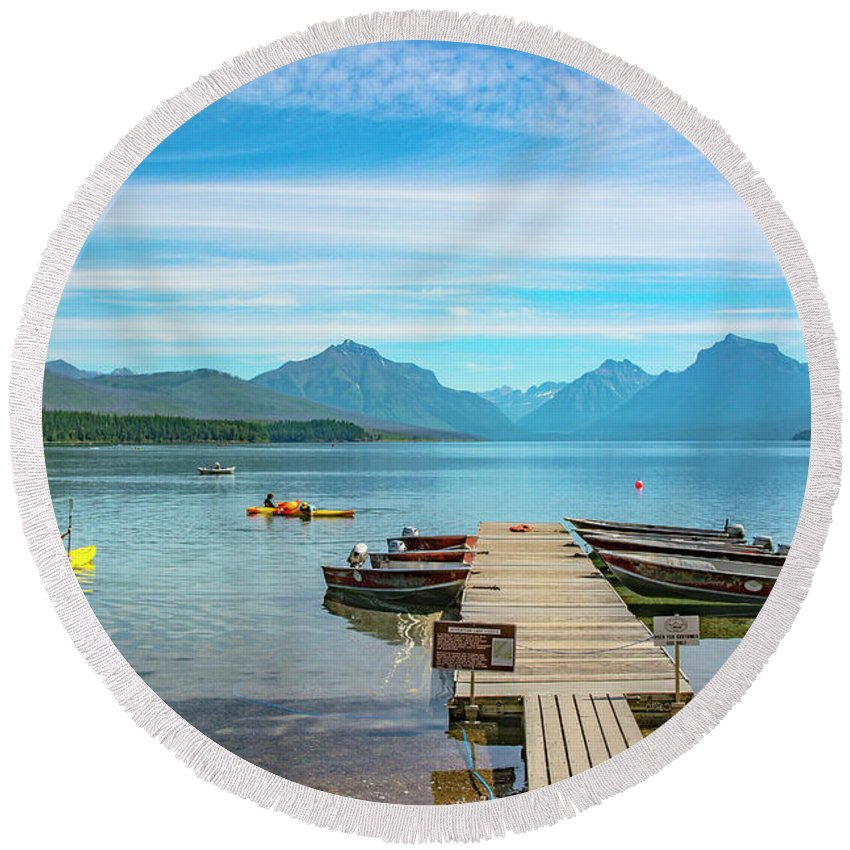 Montana Round Beach Towel featuring the photograph July 4th on Lake McDonald by Bryan Spellman
