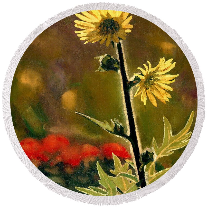 Prairie Flowers Round Beach Towel featuring the painting July Afternoon-Compass Plant by Bruce Morrison