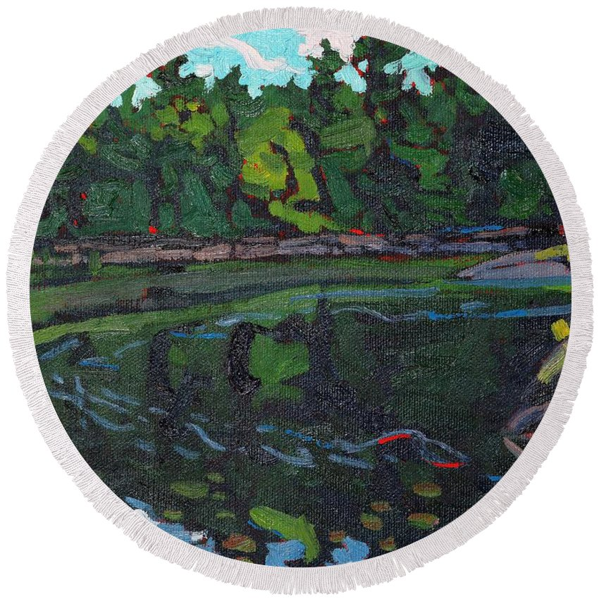 Jim Day Round Beach Towel featuring the painting July Long Reach by Phil Chadwick