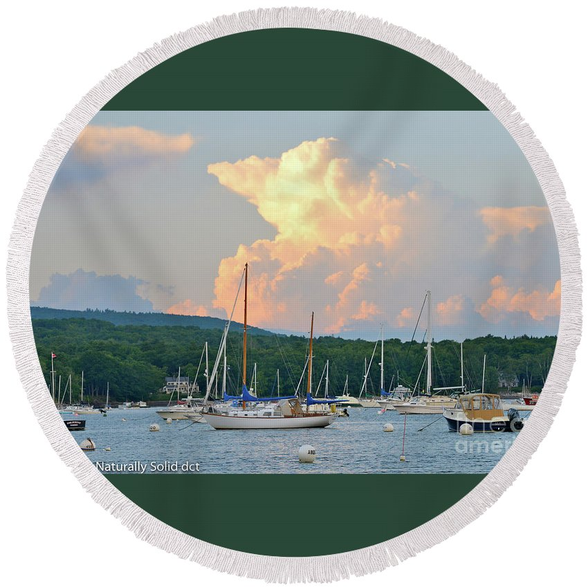 Maine Round Beach Towel featuring the photograph July Sky Over A Maine Harbor by David Taylor