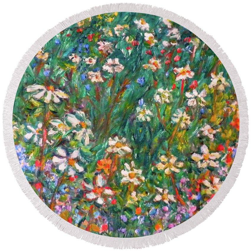Kendall Kessler Round Beach Towel featuring the painting Jumbled Up Wildflowers by Kendall Kessler